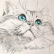 """Картины ручной работы. Ярмарка Мастеров - ручная работа Портрет вашего питомца карандашом """"Котик"""" на заказ. Handmade."""