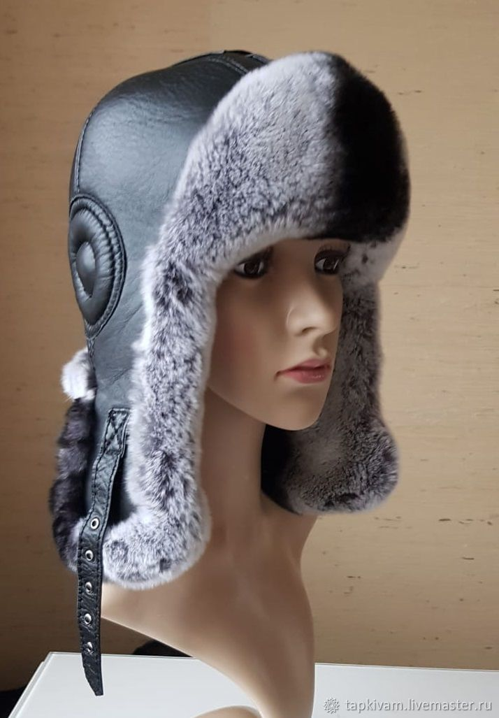 Women's helmet hat.Rex, leather. # №7, Hat with ear flaps, Moscow,  Фото №1