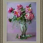 Картины и панно ручной работы. Ярмарка Мастеров - ручная работа Картина лентами-пионы в вазе. Handmade.