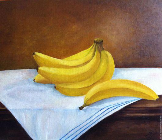 Натюрморт ручной работы. Ярмарка Мастеров - ручная работа. Купить Картина маслом. Натюрморт Бананы. Handmade. Желтый, картина в подарок