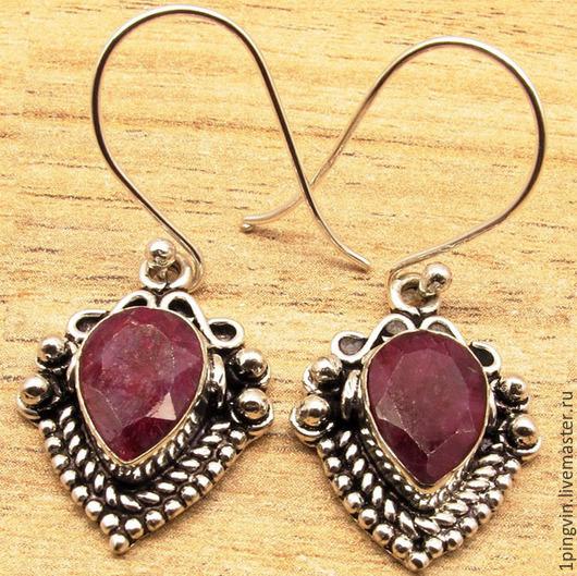 серьги, серьги ручной работы, серебряные серьги, серьги с рубином, серьги с камнями серебро, подвеска ручной работы