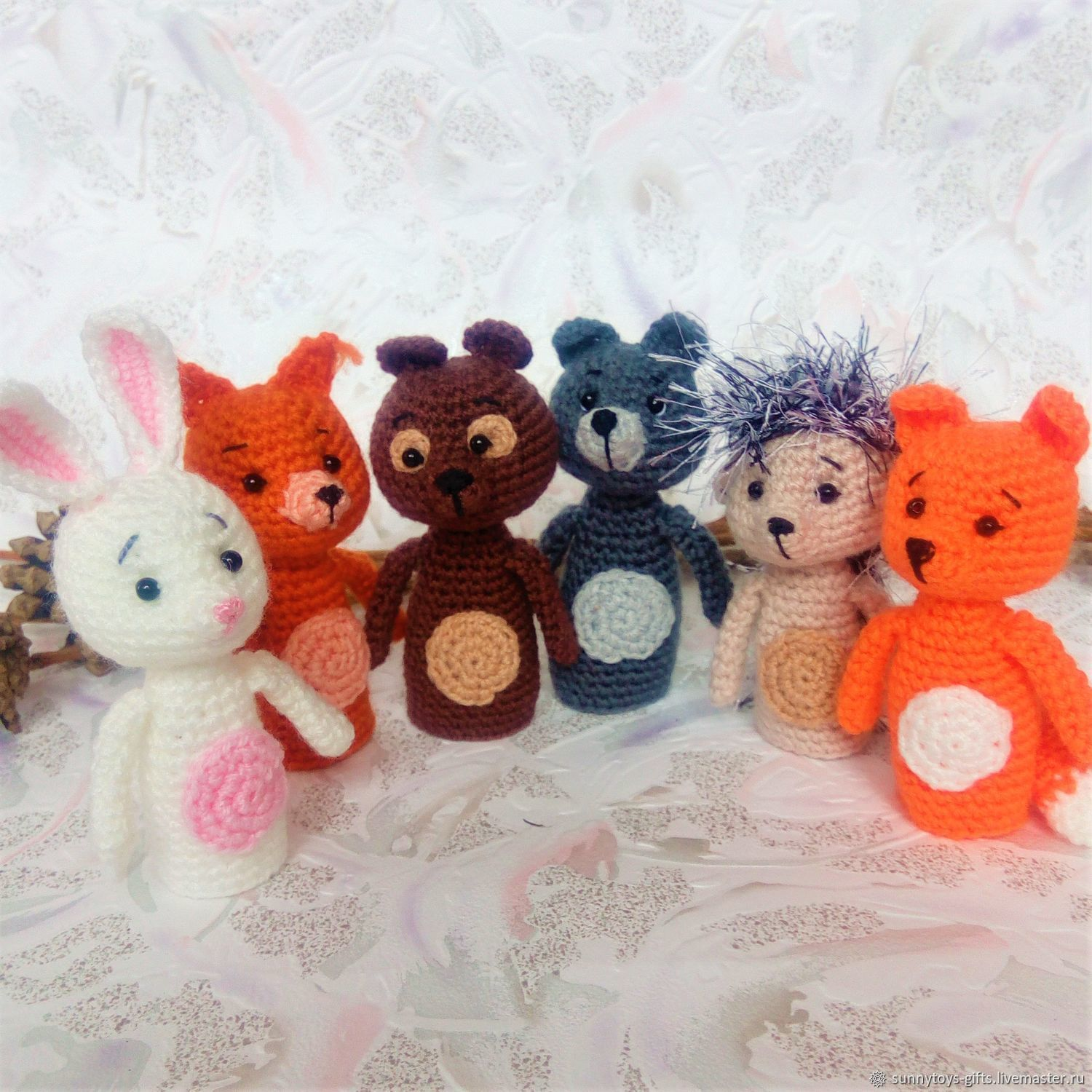 Finger toys Forest animals Wolf Hare Bear Fox Squirrel hedgehog, Stuffed Toys, Berezovsky,  Фото №1