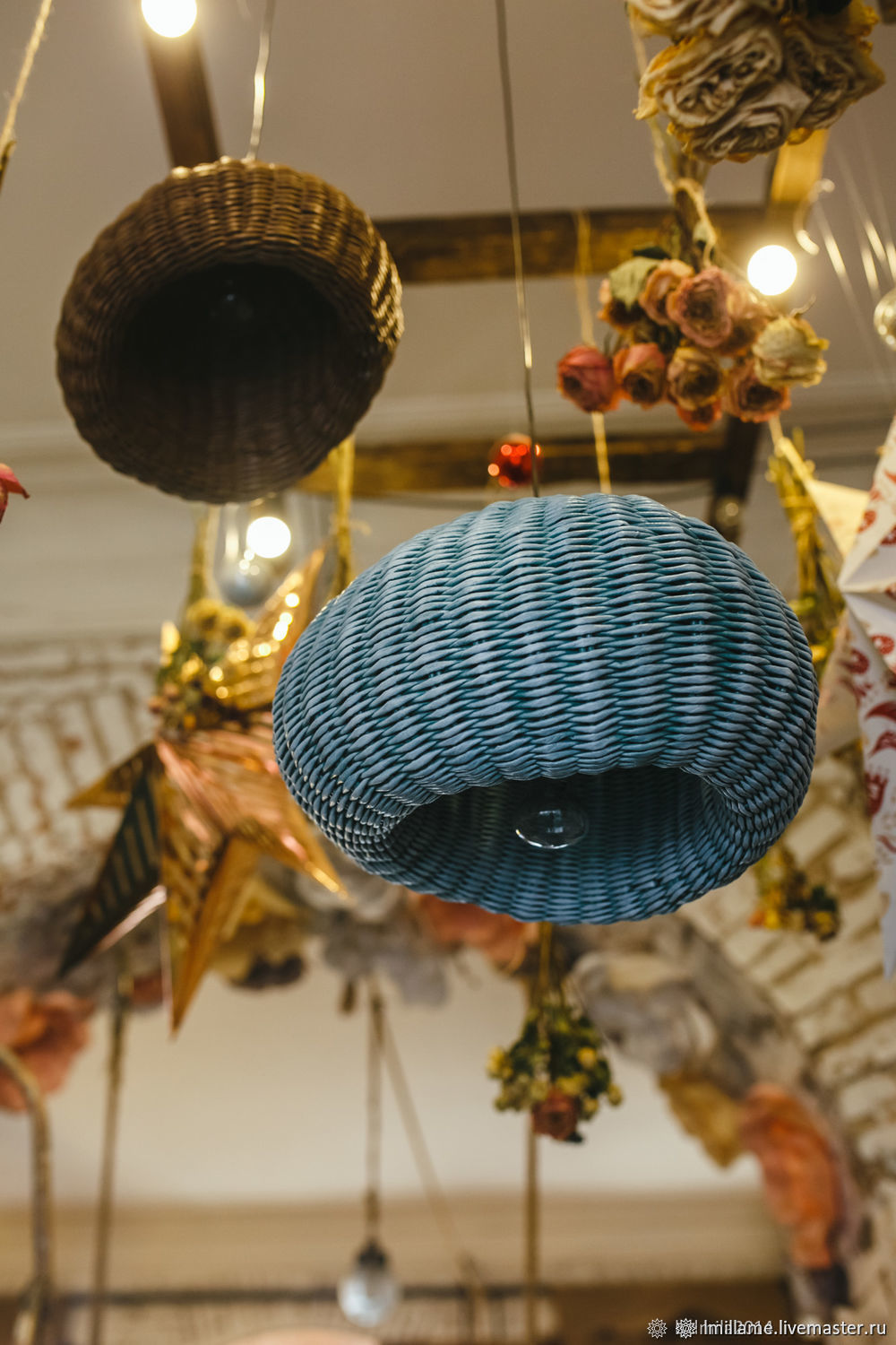 Wicker ceiling lampshade turquoise brown, Lampshades, Astrakhan,  Фото №1