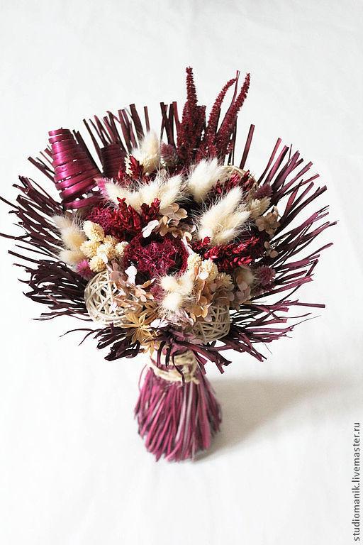 Букеты ручной работы. Ярмарка Мастеров - ручная работа. Купить Букет из сухоцветов Бордо Грасс. Handmade. Бордовый, букет из игрушек