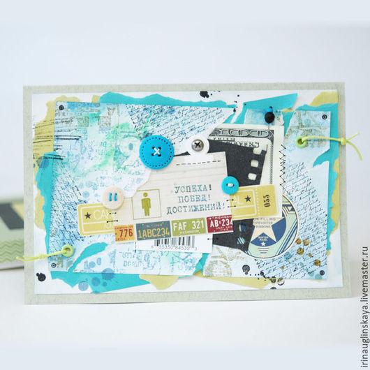 """Конверты для денег ручной работы. Ярмарка Мастеров - ручная работа. Купить Поздравительная открытка-конверт """"Успеха, побед, достижений"""". Handmade."""