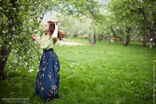 Юбки ручной работы. Ярмарка Мастеров - ручная работа. Купить юбка макси  из натурального шелка. Handmade. Тёмно-синий, цветочный