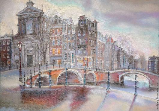 Город ручной работы. Ярмарка Мастеров - ручная работа. Купить Картина пастелью Мокрая мостовая и дома как в сказке... (фиолетовый). Handmade.