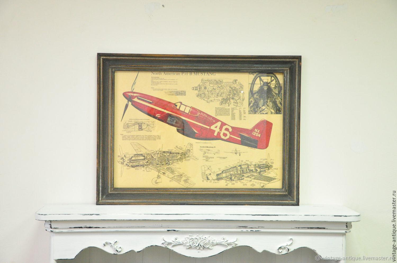 Картина истребитель самолет P51 Mustang второй мировой войны, Картины, Азов,  Фото №1
