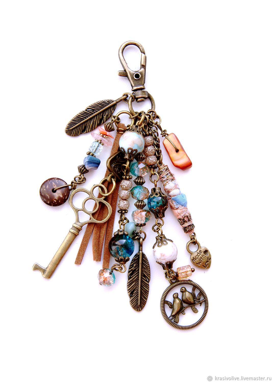 "Брелок на сумку,для ключей""Happiness and birds"""