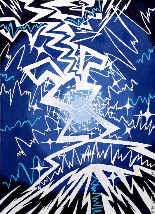"""Абстракция ручной работы. Ярмарка Мастеров - ручная работа. Купить Картина маслом ручной работы. """" Электро"""". 60 х 80 см.. Handmade."""