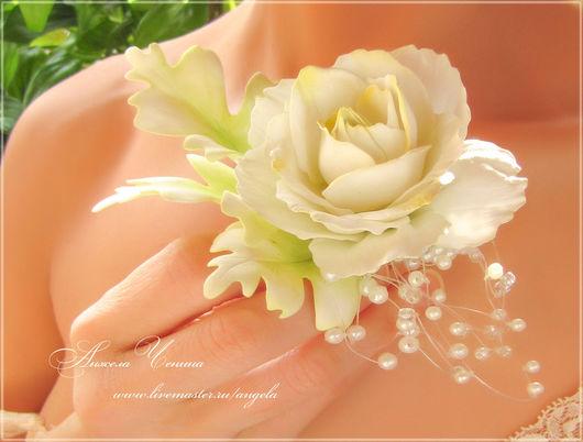 Роза из фоамирана для свадебной прически Белая роза в прическу невесты Украшение для свадебной прически - крупный цветок розы