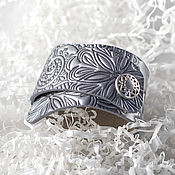 Украшения handmade. Livemaster - original item Silver leather cuff bracelet. Handmade.