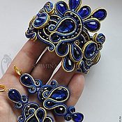 Украшения handmade. Livemaster - original item Soutache set bracelet and earrings Ultramarine. Handmade.