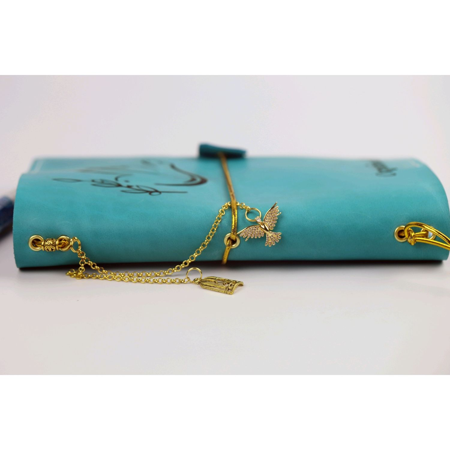 Leather turquoise notebook with engraving, Diaries, Moscow,  Фото №1