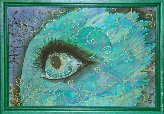 Абстракция ручной работы. Ярмарка Мастеров - ручная работа. Купить Батик-картина Всевидящее око. Handmade. Морская волна, бабочка