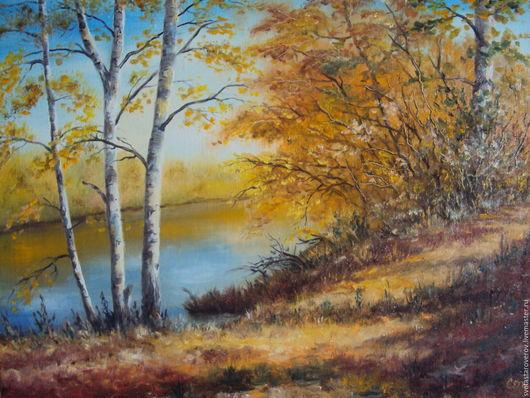 Пейзаж ручной работы. Ярмарка Мастеров - ручная работа. Купить Осень. Handmade. Рыжий, осень, осенний пейзаж, река, березки