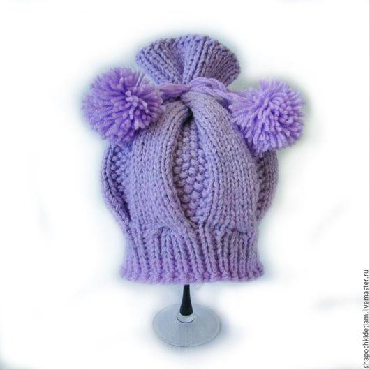 Шапки и шарфы ручной работы. Ярмарка Мастеров - ручная работа. Купить Вязаная шапочка - берет для девочки. Handmade. Фиолетовый