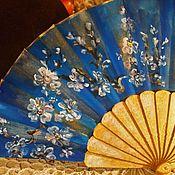 Веера ручной работы. Ярмарка Мастеров - ручная работа Веера: Синяя сказка Счастье, серия Иероглиф Счастье. Handmade.