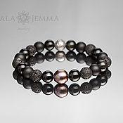 Украшения handmade. Livemaster - original item Men`s 10 mm Bead Bracelet with 12 mm black Pearl. Handmade.