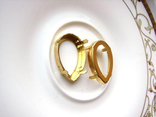 Для украшений ручной работы. Ярмарка Мастеров - ручная работа. Купить Оправа 30х20мм латунь для Капель Сваровски. Handmade.