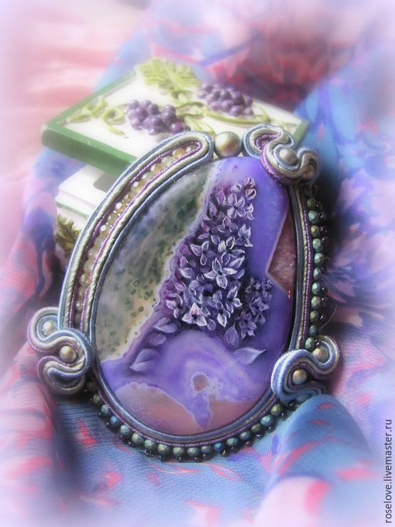' Lilac ' the Brooch is painted on stone, Brooches, Moscow,  Фото №1