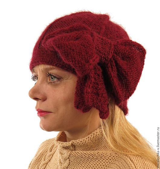 """Шляпы ручной работы. Ярмарка Мастеров - ручная работа. Купить ШЛЯПКА""""BEAU CLOCHE"""". Handmade. Бордовый, бордовый цвет, шапка вязаная"""