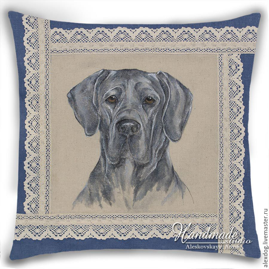 """Great Dane - blue"". Decorative pillow - hand-painted on natural linen, Pictures, Moscow,  Фото №1"