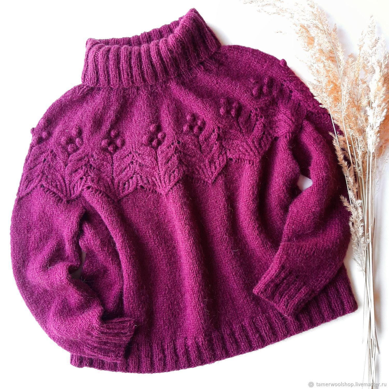 Ажурный вязаный свитер, бордовый свитер с воротом для женщин, Свитеры, Москва,  Фото №1