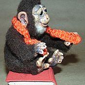 Войлочная игрушка ручной работы. Ярмарка Мастеров - ручная работа Обезьянка миниатюрная, Войлочная игрушка, из шерсти. Handmade.