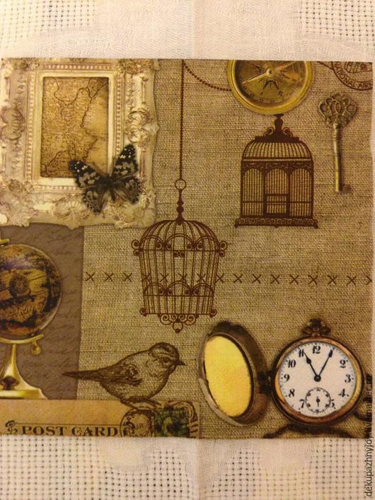 Клетка, рама, часы, глобус, птичка - 107 Декупажная радость