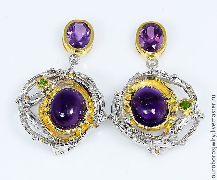 Earrings with natural amethyst, Earrings, Novosibirsk,  Фото №1