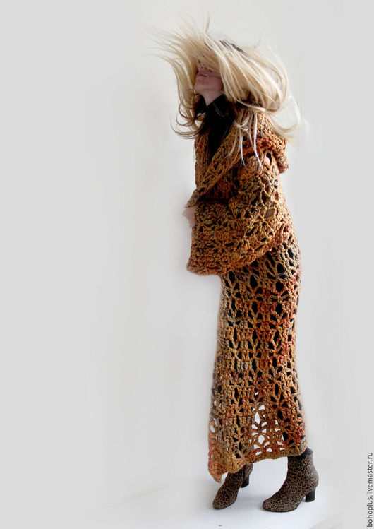 """Верхняя одежда ручной работы. Ярмарка Мастеров - ручная работа. Купить Вязаное пальто из толстой пряжи """"Кленовый лист"""". Handmade."""