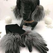 Меховые наушники и коженно-кашемировые перчатки с мехом чернобурки