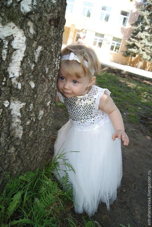 """Одежда для девочек, ручной работы. Ярмарка Мастеров - ручная работа. Купить Платье для девочки """"Шик, Блеск"""". Handmade. Белый"""