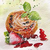 Картины и панно ручной работы. Ярмарка Мастеров - ручная работа Акварель Бриошь с клубникой. Handmade.