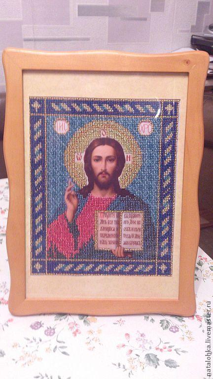 Иконы ручной работы. Ярмарка мастеров - ручная работа. Икона Христа Спасителя. Купить икона бисером. Купить икону бисером.  Икона ручной работы. Икона вышитая бисером. Handmade. Купить икону.
