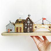Для дома и интерьера ручной работы. Ярмарка Мастеров - ручная работа `В старом городе` домики на полку, дрифтвуд-арт. Handmade.