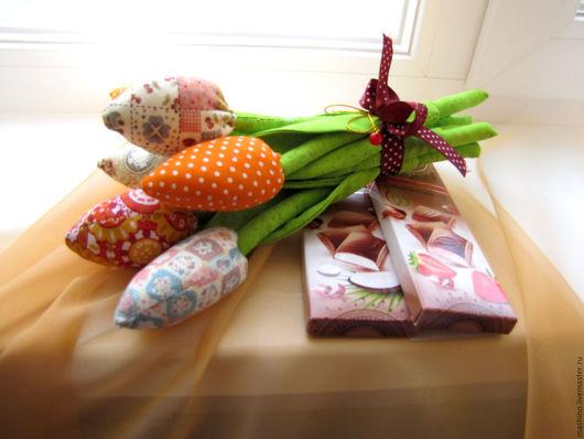 Букеты ручной работы. Ярмарка Мастеров - ручная работа. Купить Букет тюльпанов. Handmade. Комбинированный, цветы, тюльпан, 8 марта