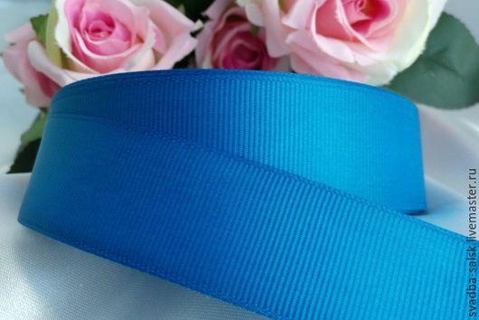 Шитье ручной работы. Ярмарка Мастеров - ручная работа. Купить Лента репсовая синяя 25 мм. Handmade. Атласная лента