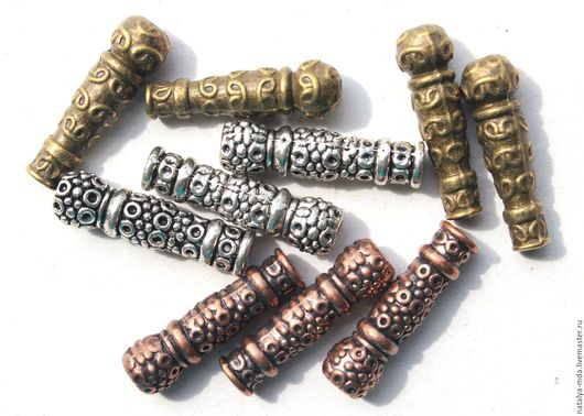 Для украшений ручной работы. Ярмарка Мастеров - ручная работа. Купить Бусина трубочка. Handmade. Бусины, античное серебро
