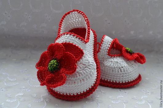"""Для новорожденных, ручной работы. Ярмарка Мастеров - ручная работа. Купить Туфельки """" Красные маки """". Handmade. Белый"""