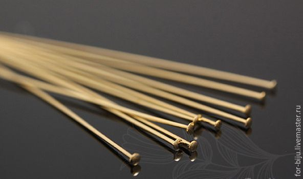 The stud pins 50*0,5 mm, the cap of 1,2 mm gold plated, manufactured in South Korea, the material is brass (art. 2090)