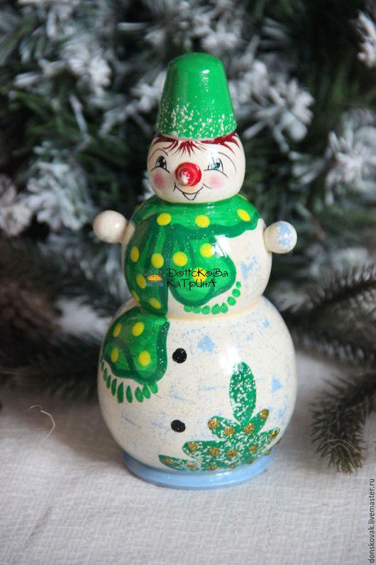 Новый год 2017 ручной работы. Ярмарка Мастеров - ручная работа. Купить Снеговик матрешка. Handmade. Зеленый, елка, Новый Год