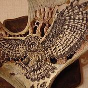 Картины и панно ручной работы. Ярмарка Мастеров - ручная работа панно из рога лося. Handmade.