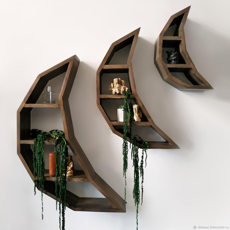Мебель ручной работы. Ярмарка Мастеров - ручная работа. Купить Набор деревянных полок 'Crescent' в виде лунных серпов. Handmade.