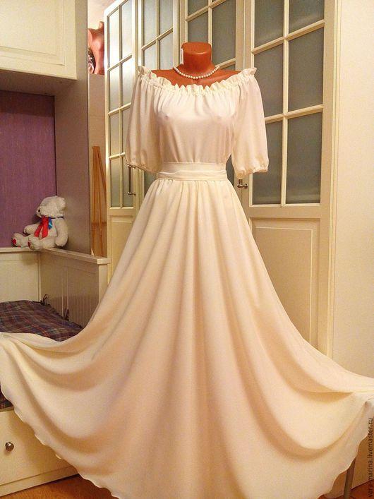 Платья ручной работы. Ярмарка Мастеров - ручная работа. Купить Платье в пол Нежность. Handmade. Белый, вечернее платье