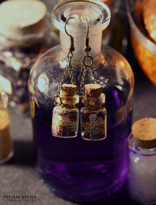 """Серьги ручной работы. Ярмарка Мастеров - ручная работа. Купить Серьги """"Potions ingredients №1"""". Handmade. Серьги, сухоцветы, розмарин"""