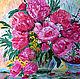 Картина С добрым утром, любимая! ручная работа автор Евгения Морозова масло на холсте с подрамником 40х50см Прекрасные яркие цветы пионов в вазе  натюрморт с вишней Хороший подарок украшение интерьера