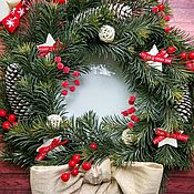 Сувениры и подарки handmade. Livemaster - original item New year`s wreath Christmas on the door on the wall new year of the bull. Handmade.