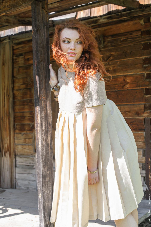 Летнее льняное платье, бежевое с молочным, с юбкой в складку, Платья, Томск,  Фото №1